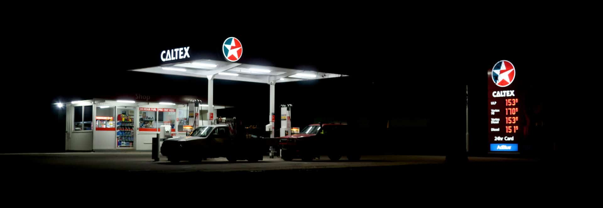 Simpons Fuel Service Station at Night